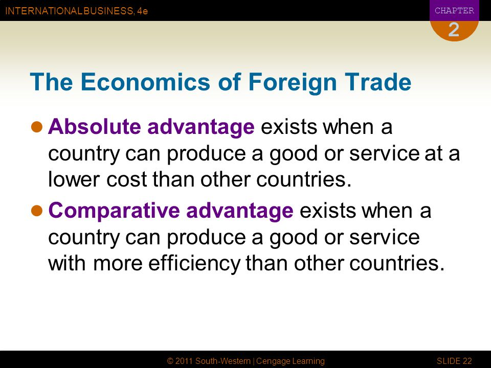INTERNATIONAL BUSINESS, 4e CHAPTER © 2011 South-Western | Cengage Learning SLIDE 22 2 The Economics of Foreign Trade Absolute advantage exists when a