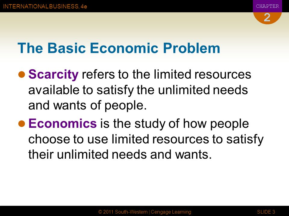INTERNATIONAL BUSINESS, 4e CHAPTER © 2011 South-Western | Cengage Learning SLIDE 3 2 The Basic Economic Problem Scarcity refers to the limited resourc