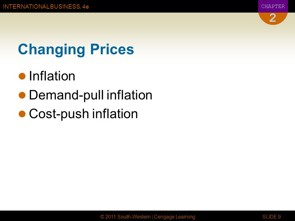 INTERNATIONAL BUSINESS, 4e CHAPTER © 2011 South-Western | Cengage Learning SLIDE 9 2 Changing Prices Inflation Demand-pull inflation Cost-push inflati