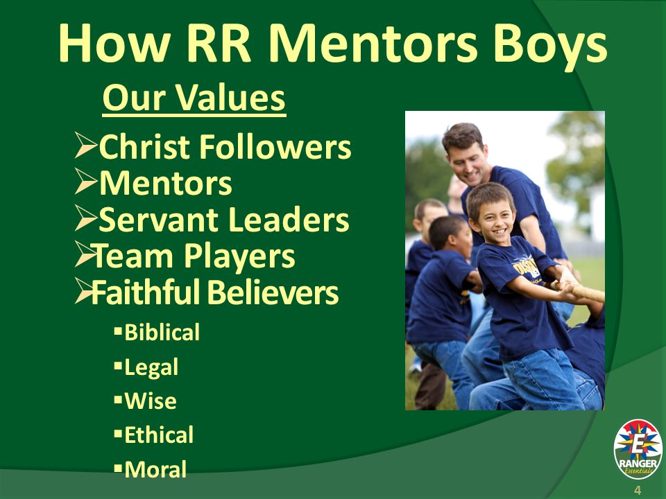 How RR Mentors Boys We Apply:  Organizational Values  Ministerial Values  Effective Methods 5