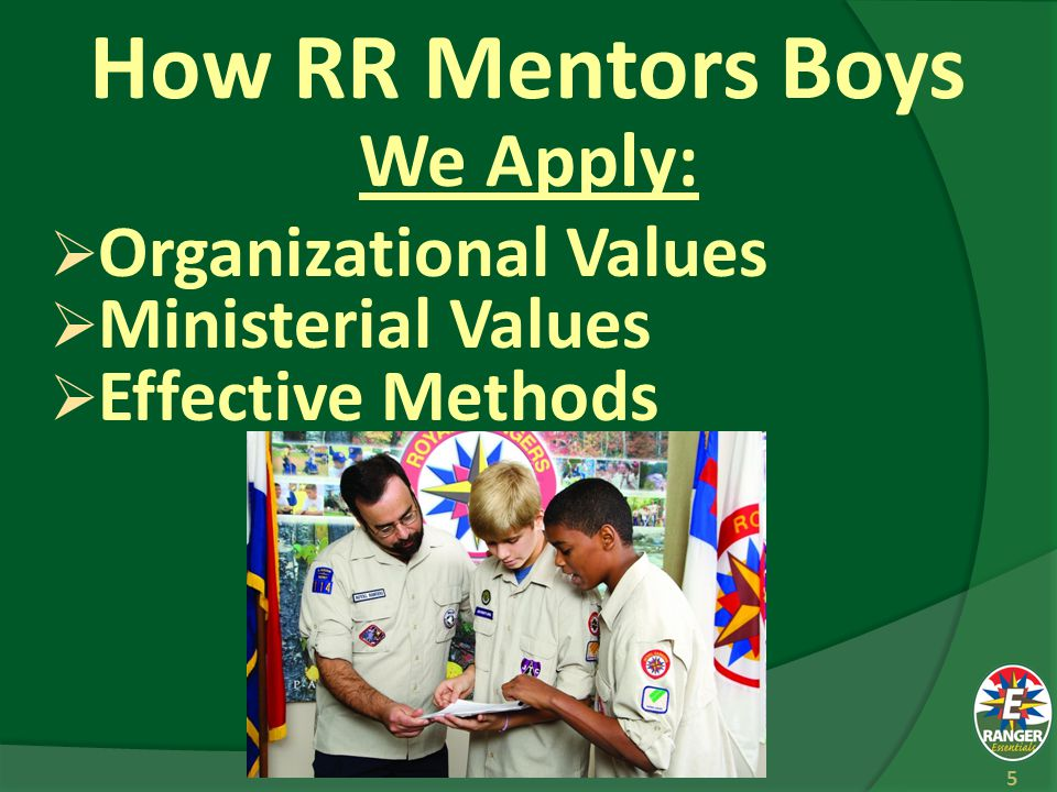 How RR Mentors Boys We Apply:  Organizational Values  Ministerial Values  Effective Methods 5