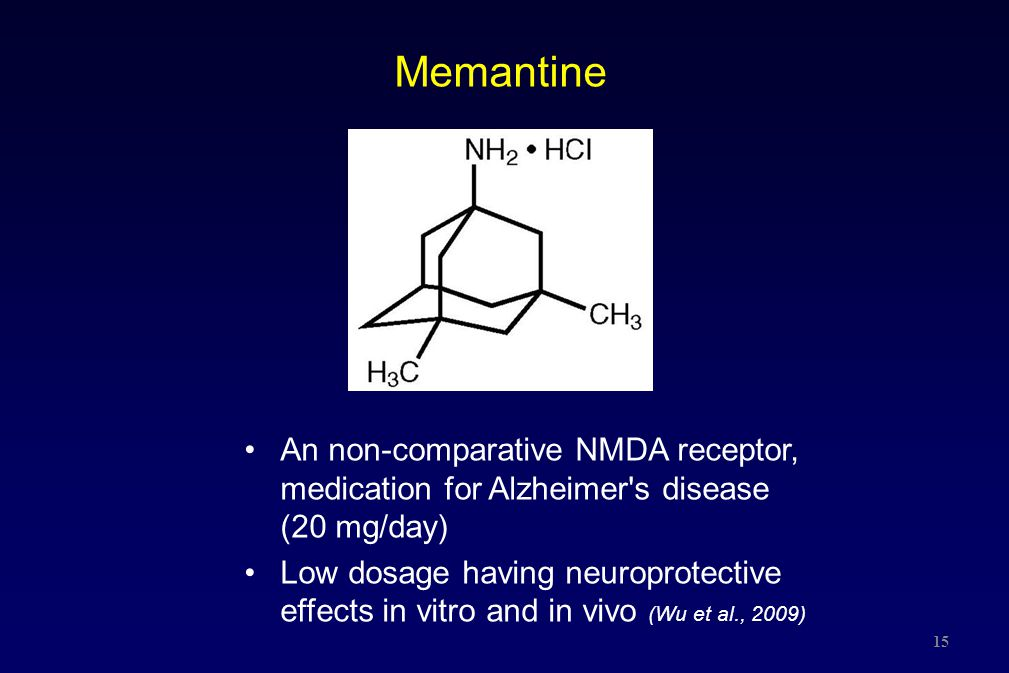 15 Memantine An non-comparative NMDA receptor, medication for Alzheimer's disease (20 mg/day) Low dosage having neuroprotective effects in vitro and i