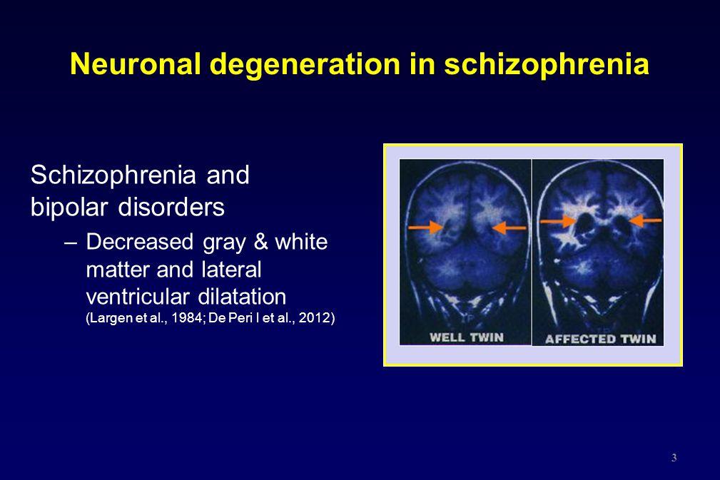 Neuronal degeneration in schizophrenia Schizophrenia and bipolar disorders –Decreased gray & white matter and lateral ventricular dilatation (Largen e