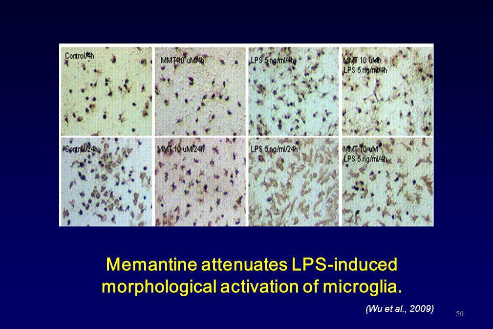 Memantine attenuates LPS-induced morphological activation of microglia. 50 (Wu et al., 2009)