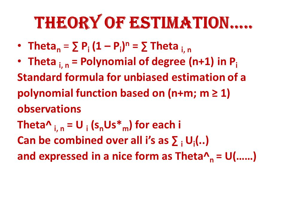 Theory of Estimation…..