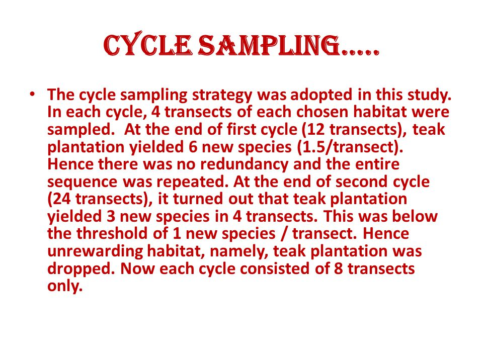 Cycle Sampling…..The cycle sampling strategy was adopted in this study.