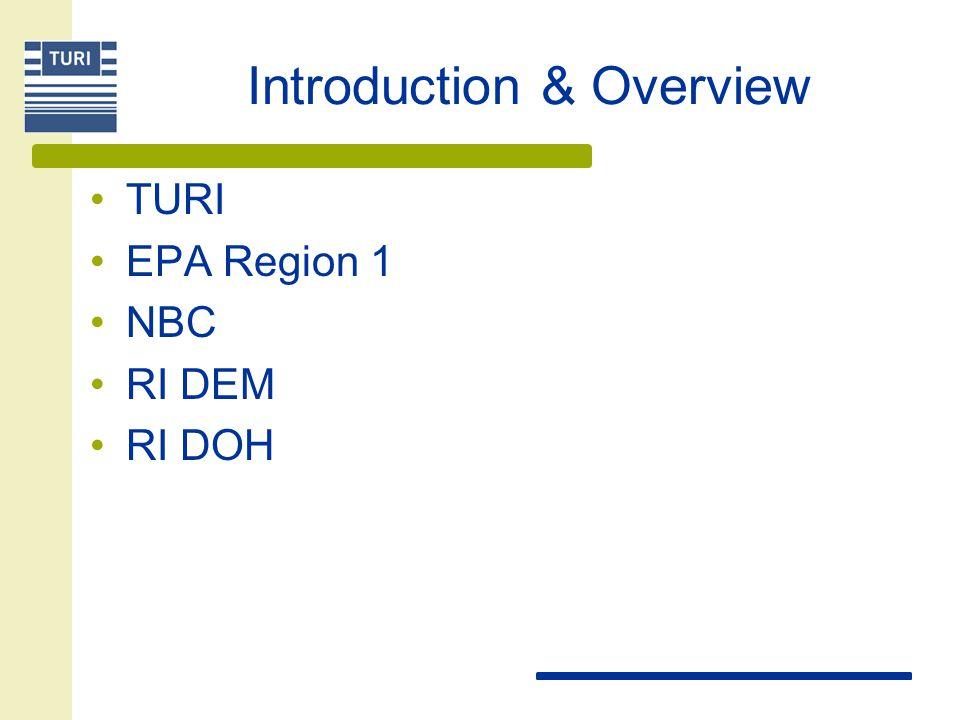 Introduction & Overview TURI EPA Region 1 NBC RI DEM RI DOH