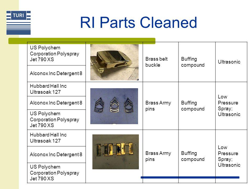 US Polychem Corporation Polyspray Jet 790 XS Brass belt buckle Buffing compound Ultrasonic Alconox Inc Detergent 8 Hubbard Hall Inc Ultrasoak 127 Bras