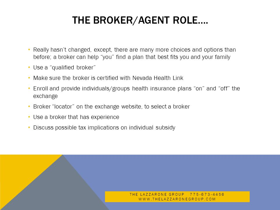 THE BROKER/AGENT ROLE….