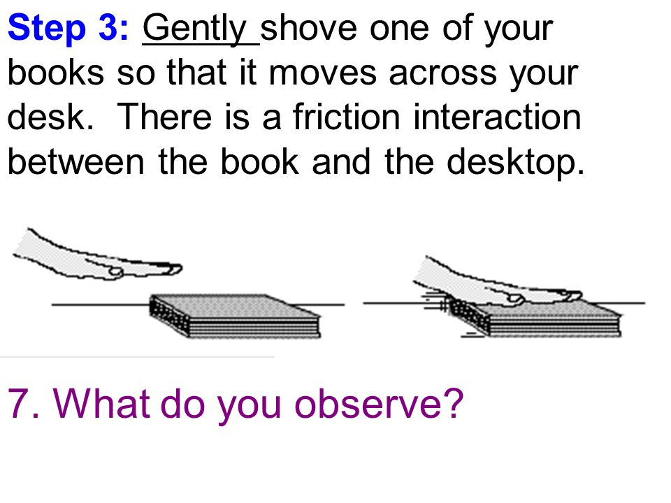 Step 3: Gently shove one of your books so that it moves across your desk.