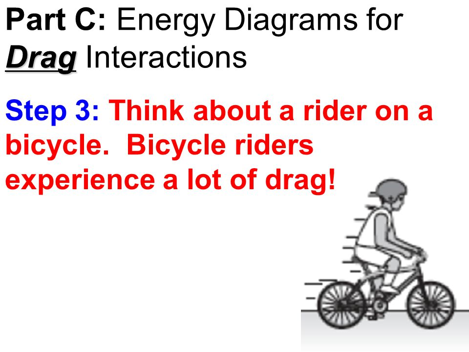 Drag Part C: Energy Diagrams for Drag Interactions Step 3: Think about a rider on a bicycle.