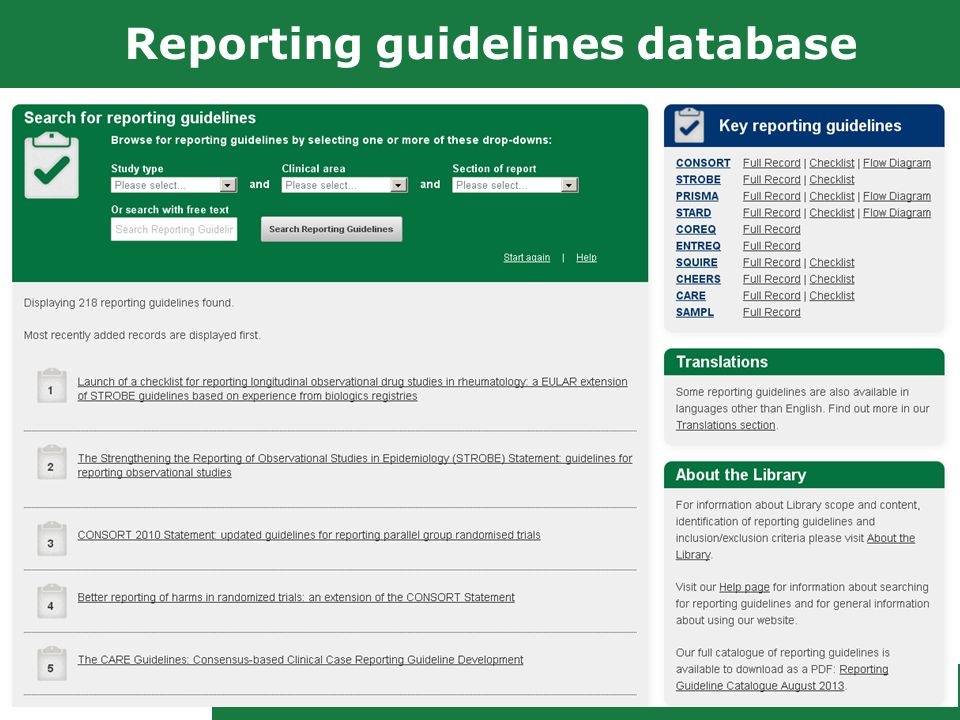 Reporting guidelines database 9