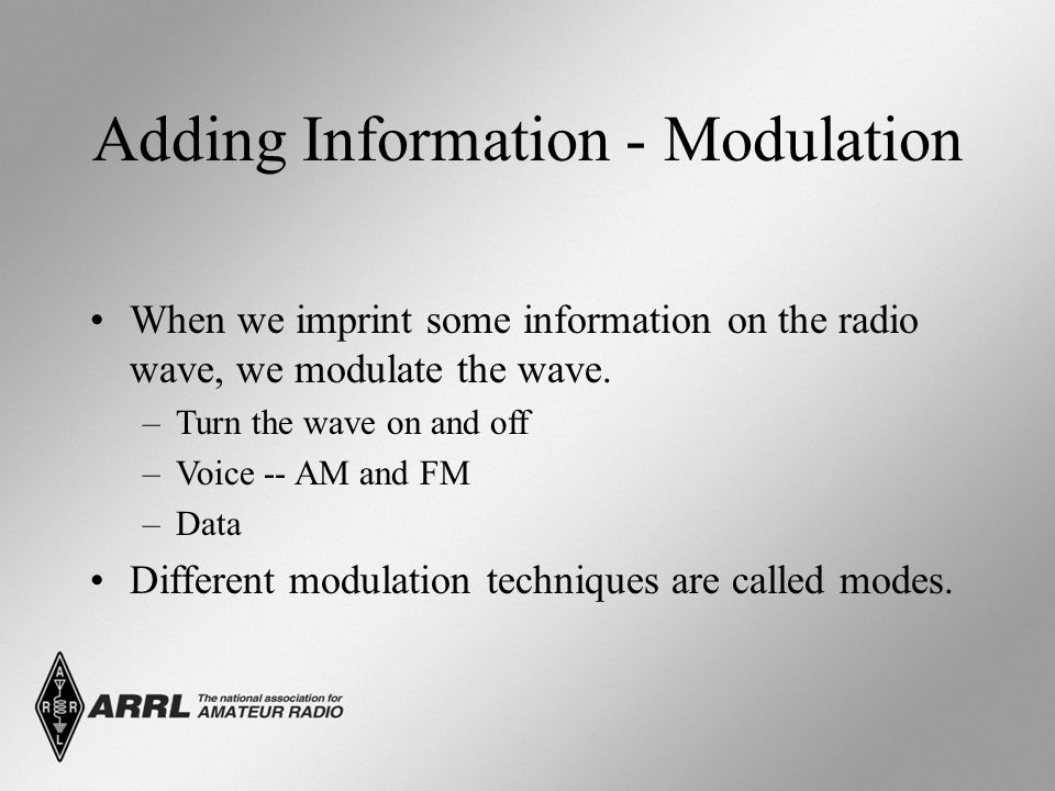 Adding Information - Modulation When we imprint some information on the radio wave, we modulate the wave. –Turn the wave on and off –Voice -- AM and F
