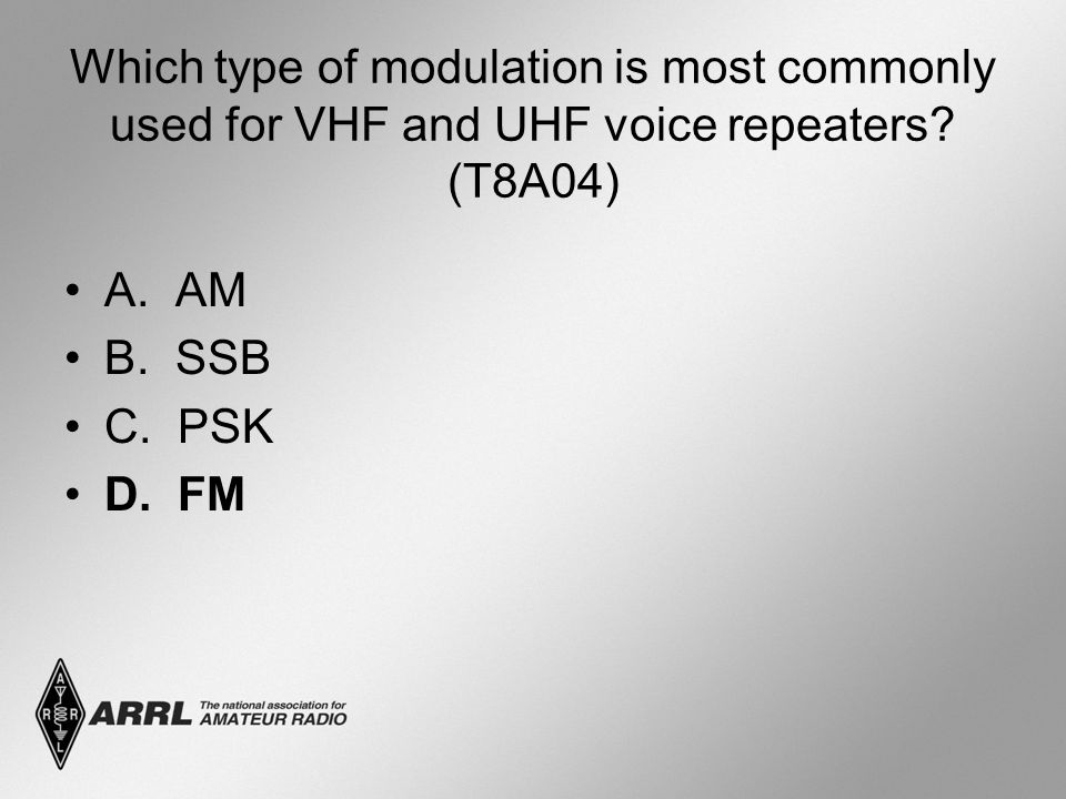Which type of modulation is most commonly used for VHF and UHF voice repeaters? (T8A04) A. AM B. SSB C. PSK D. FM