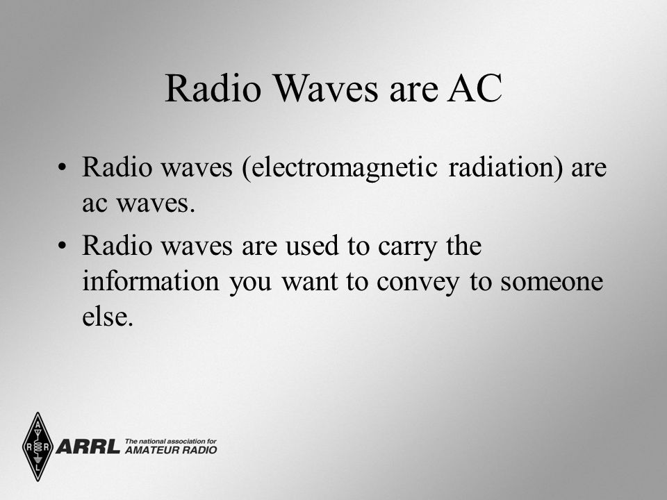 Radio Waves are AC Radio waves (electromagnetic radiation) are ac waves. Radio waves are used to carry the information you want to convey to someone e