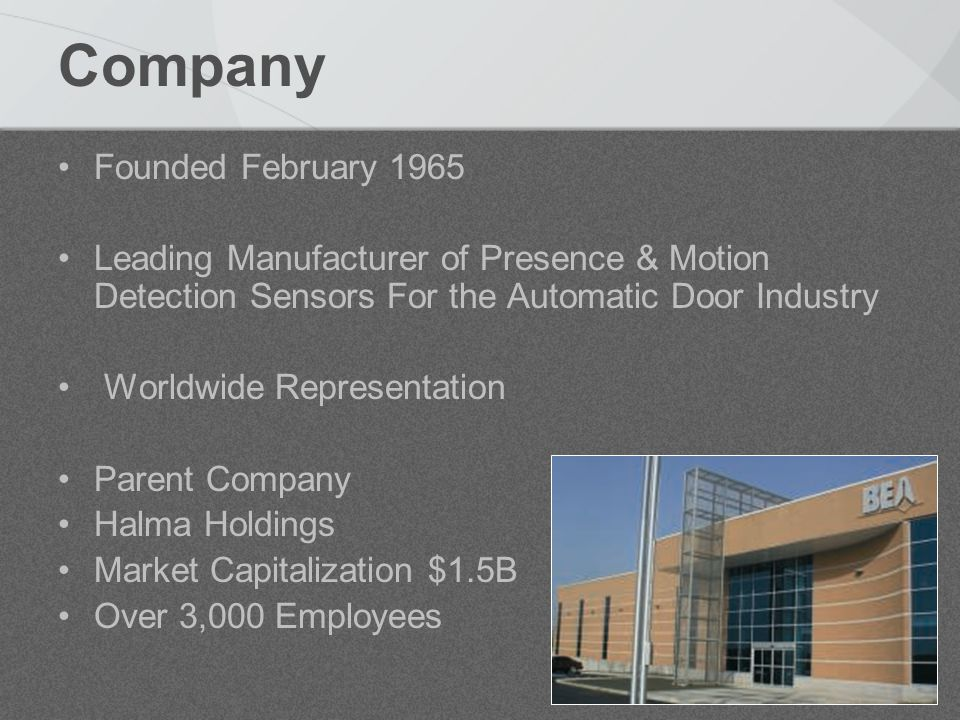 Company Founded February 1965 Leading Manufacturer of Presence & Motion Detection Sensors For the Automatic Door Industry Worldwide Representation Parent Company Halma Holdings Market Capitalization $1.5B Over 3,000 Employees