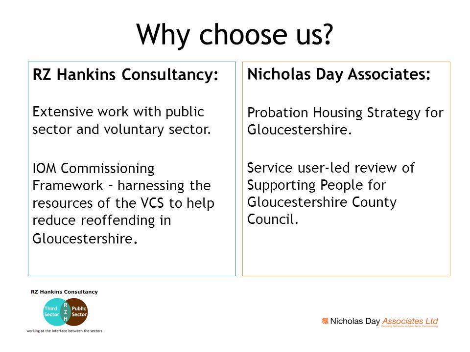 RZ Hankins Consultancy: Extensive work with public sector and voluntary sector.