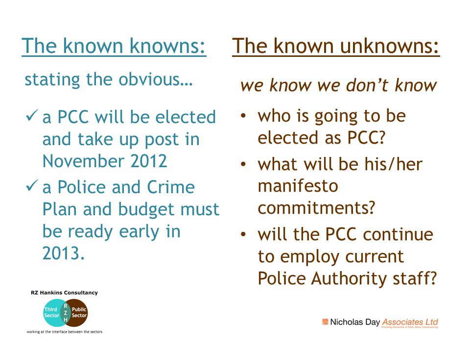 stating the obvious… a PCC will be elected and take up post in November 2012 a Police and Crime Plan and budget must be ready early in 2013.