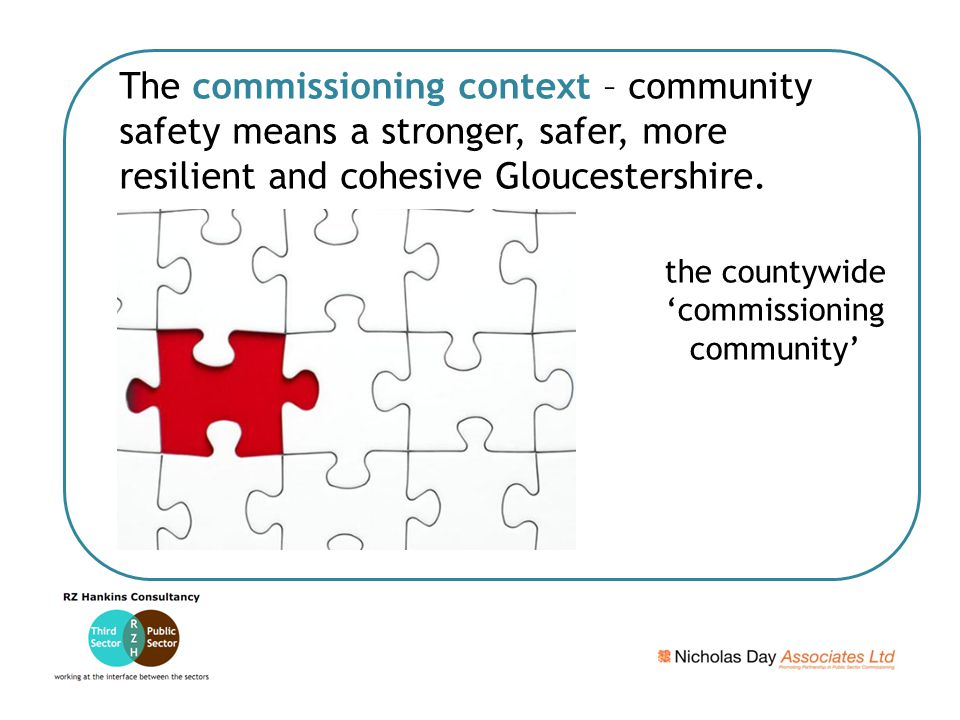 The commissioning context – community safety means a stronger, safer, more resilient and cohesive Gloucestershire.