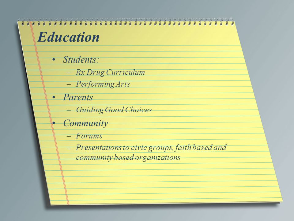 Education Students: –Rx Drug Curriculum –Performing Arts Parents –Guiding Good Choices Community –Forums –Presentations to civic groups, faith based and community based organizations