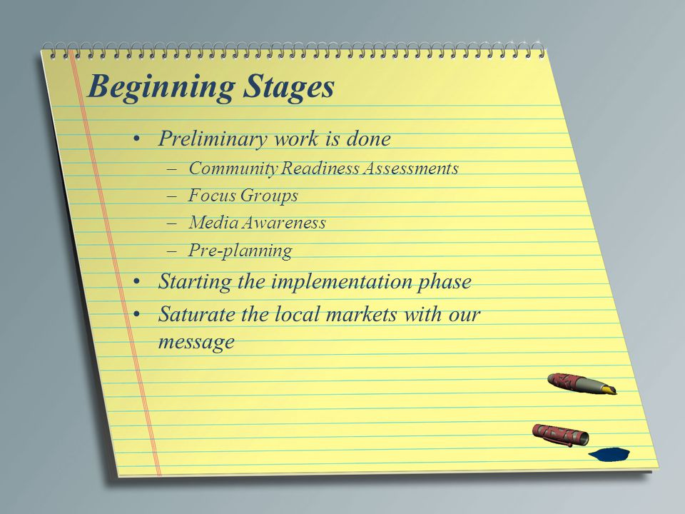 Beginning Stages Preliminary work is done –Community Readiness Assessments –Focus Groups –Media Awareness –Pre-planning Starting the implementation phase Saturate the local markets with our message