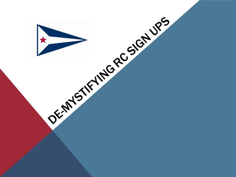 DE-MYSTIFYING RC SIGN UPS