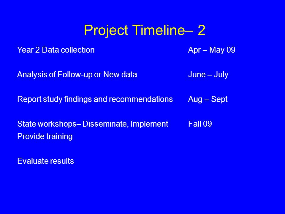 Project Timeline– 2 Year 2 Data collection Apr – May 09 Analysis of Follow-up or New data June – July Report study findings and recommendationsAug – Sept State workshops– Disseminate, Implement Fall 09 Provide training Evaluate results