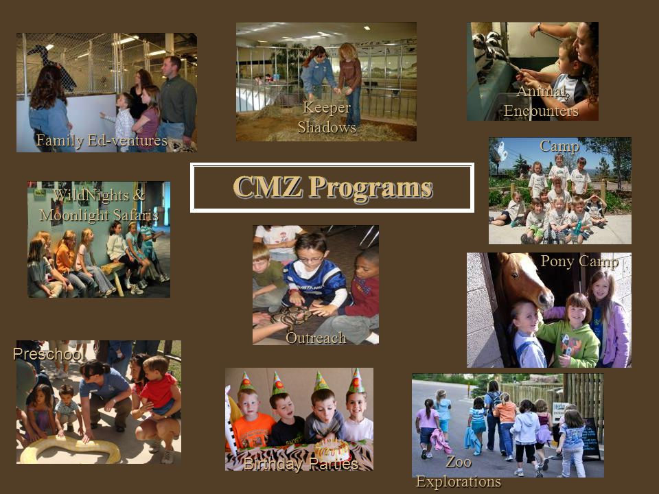 CMZ Programs WildNights & Moonlight Safaris Animal Encounters Outreach Keeper Shadows Camp Camp Pony Camp Zoo Explorations Birthday Parties Preschool CMZ Programs Family Ed-ventures CMZ Programs