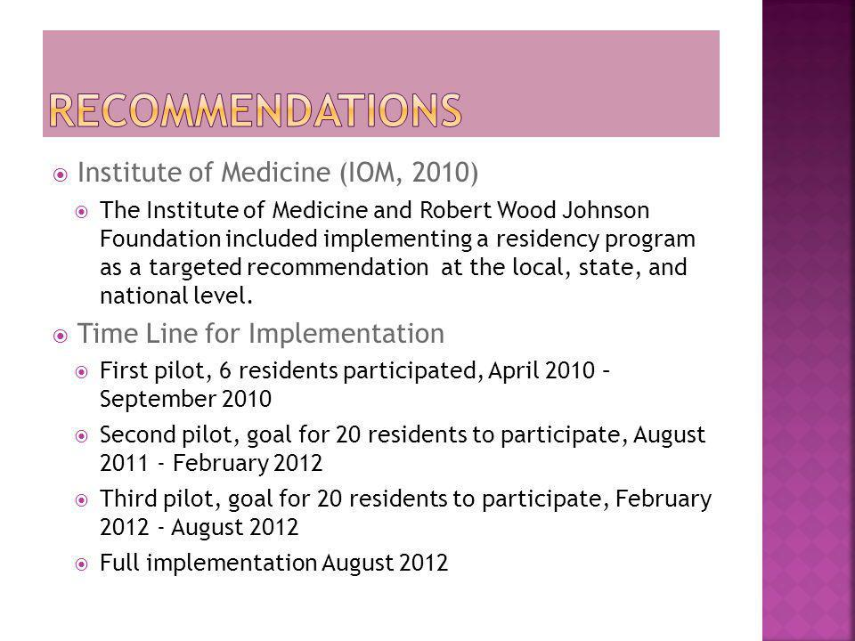  Institute of Medicine (IOM, 2010)  The Institute of Medicine and Robert Wood Johnson Foundation included implementing a residency program as a targ