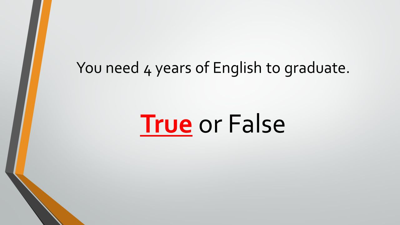 You need 4 years of English to graduate. True or False