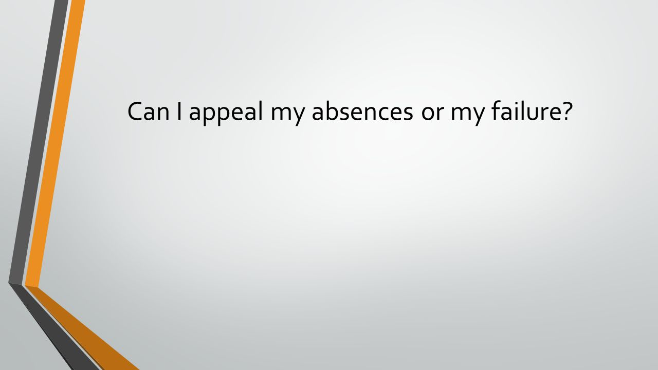 Can I appeal my absences or my failure?