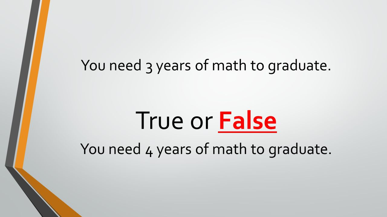 You need 3 years of math to graduate. True or False You need 4 years of math to graduate.