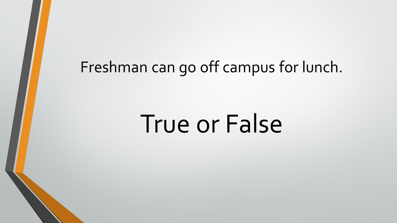 Freshman can go off campus for lunch. True or False
