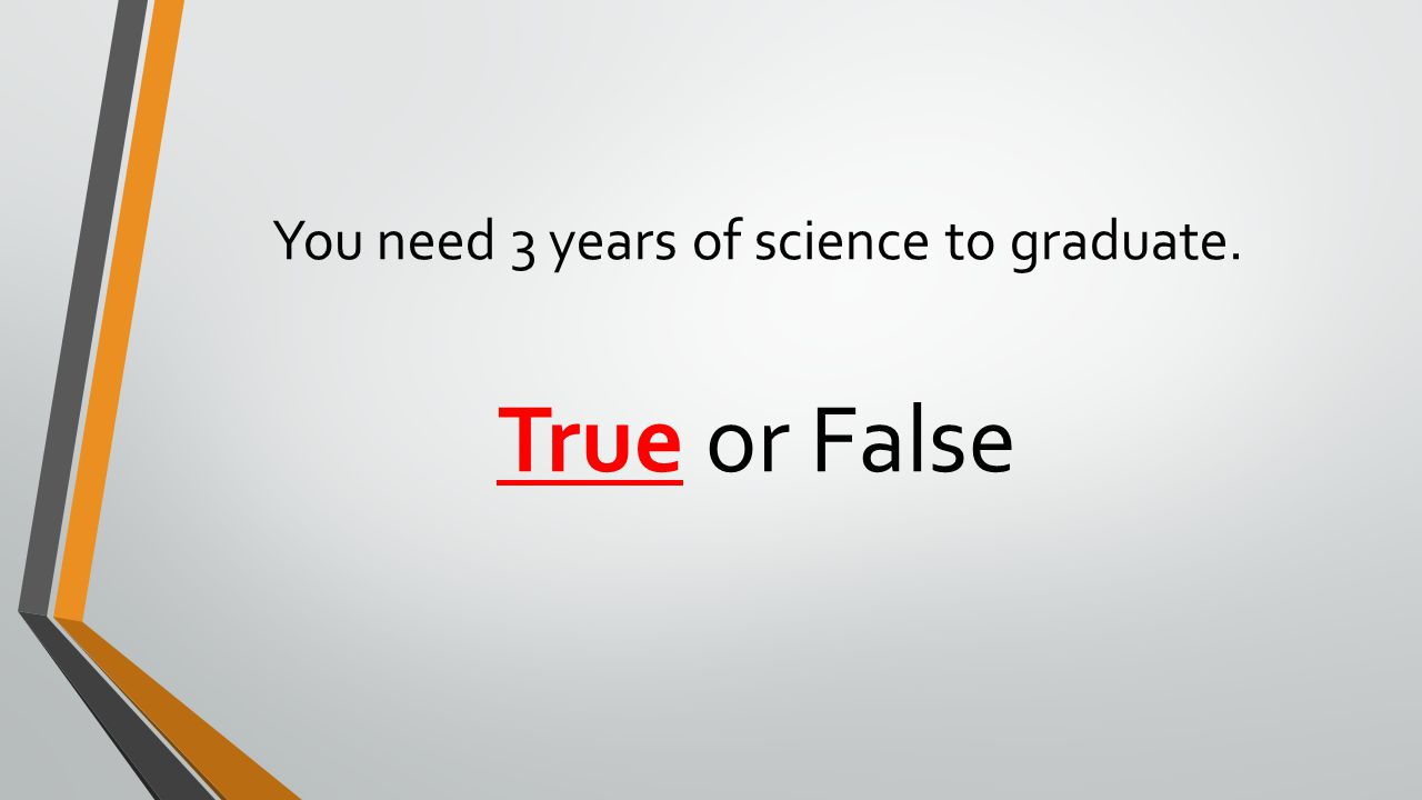 You need 3 years of science to graduate. True or False