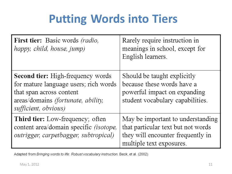 Putting Words into Tiers First tier: Basic words (radio, happy, child, house, jump) Rarely require instruction in meanings in school, except for English learners.