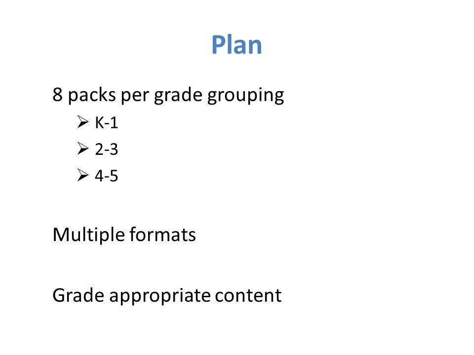 Plan 8 packs per grade grouping  K-1  2-3  4-5 Multiple formats Grade appropriate content