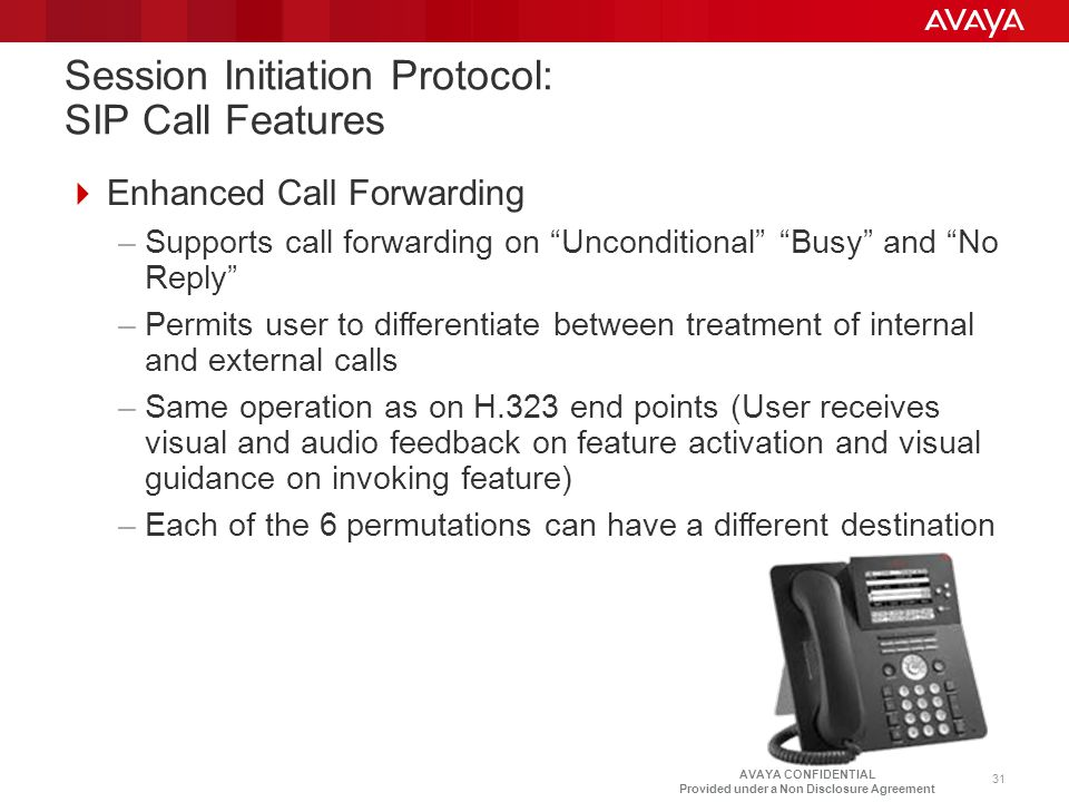 AVAYA CONFIDENTIAL Provided under a Non Disclosure Agreement Session Initiation Protocol: SIP Call Features  Enhanced Call Forwarding –Supports call