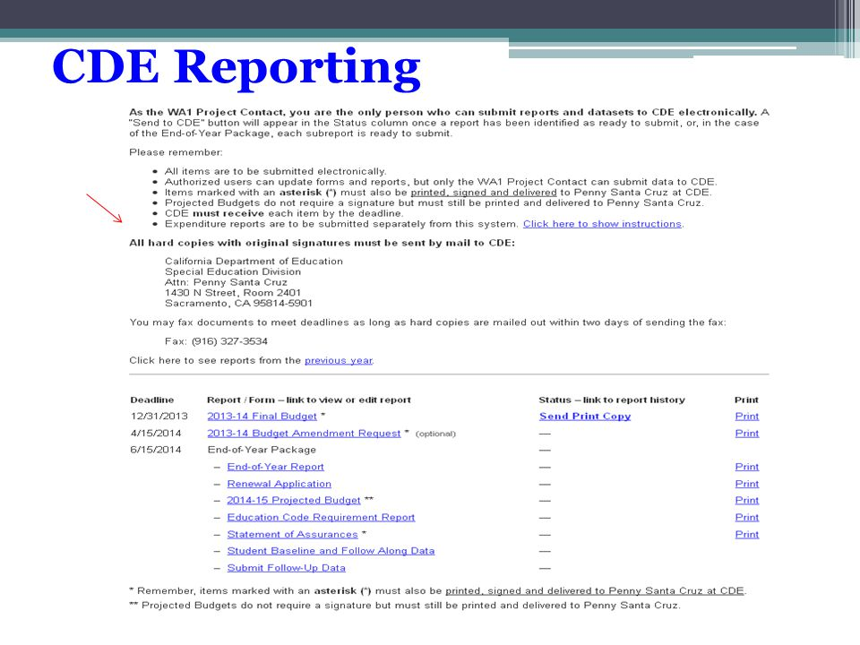 CDE Reporting