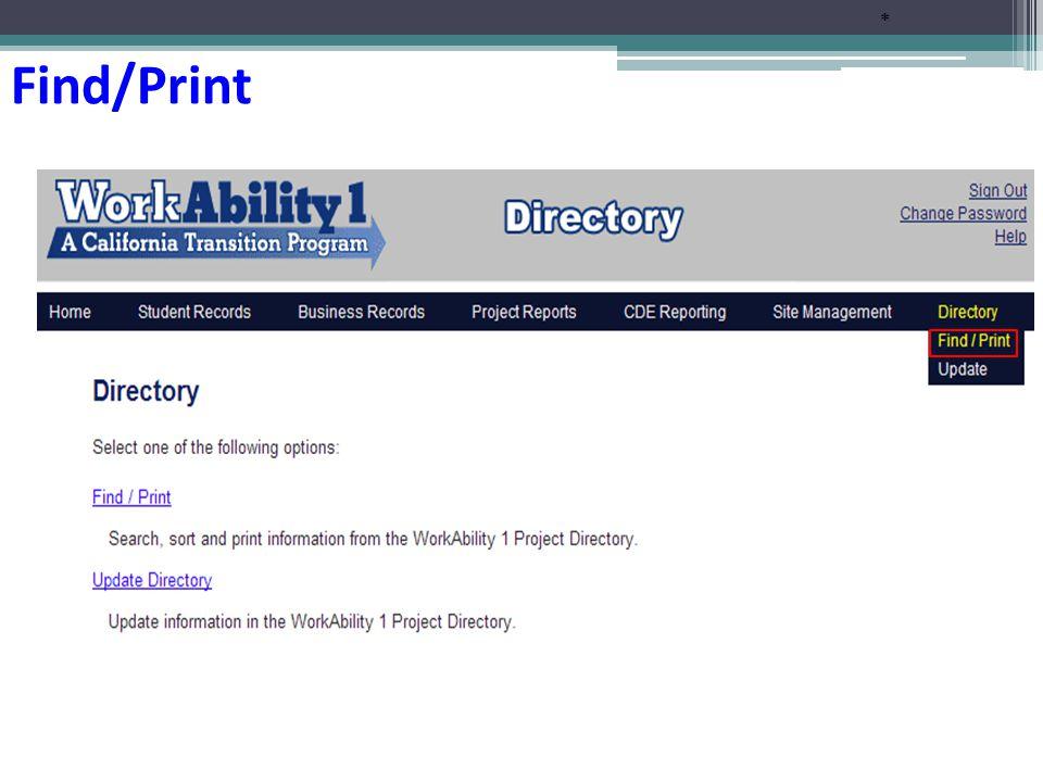 * Find/Print