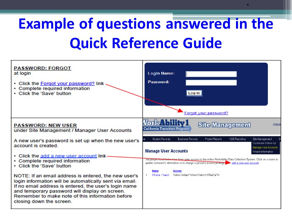 * Example of questions answered in the Quick Reference Guide