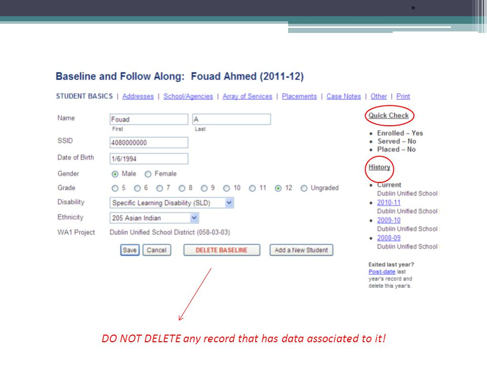 If the student is already in the database, you will need to search all WAI Projects to find them.