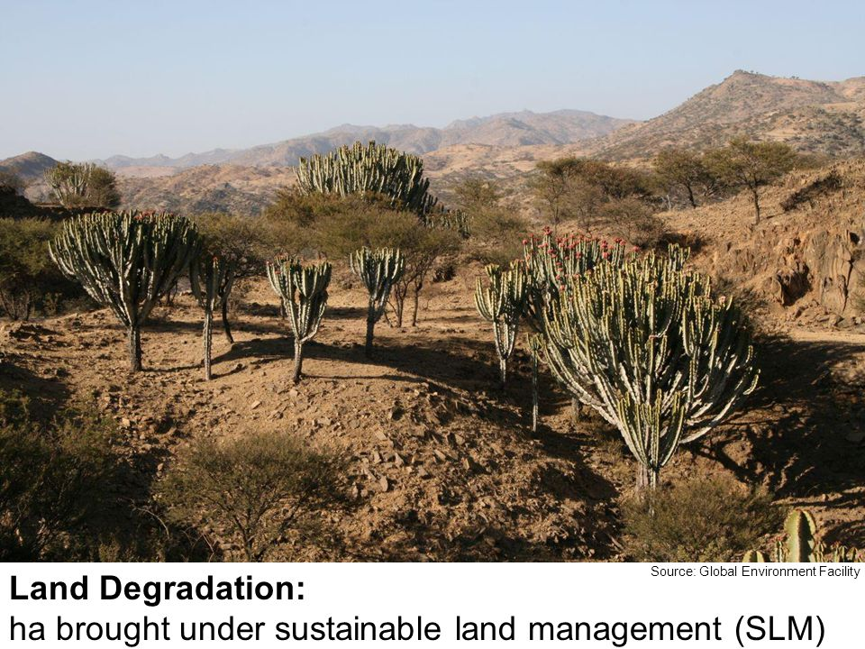 Land Degradation: ha brought under sustainable land management (SLM) Source: Global Environment Facility
