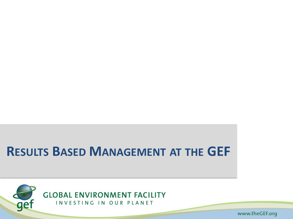 Results Based Management Global Environmental Benefits Organization's processes, products, and services Achieve Desired Results