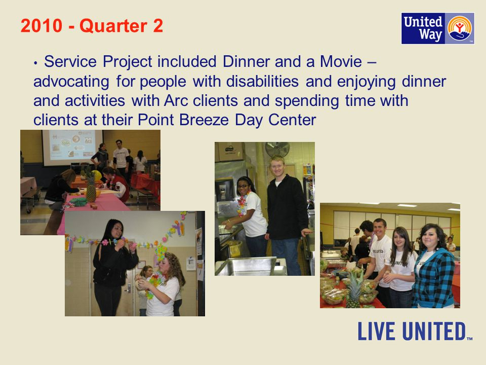 Quarter 2 Service Project included Dinner and a Movie – advocating for people with disabilities and enjoying dinner and activities with Arc clients and spending time with clients at their Point Breeze Day Center