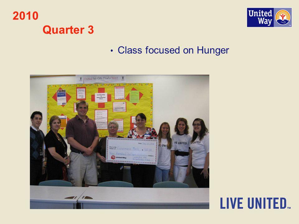 2010 Quarter 3 Class focused on Hunger