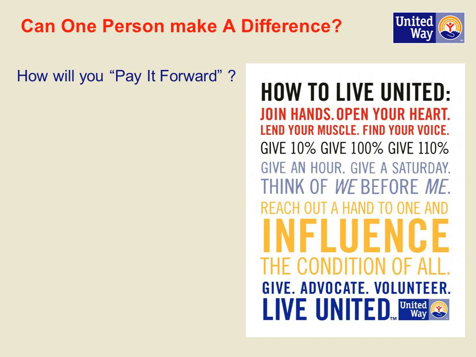 Can One Person make A Difference How will you Pay It Forward