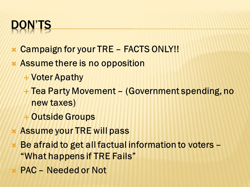  Campaign for your TRE – FACTS ONLY!.