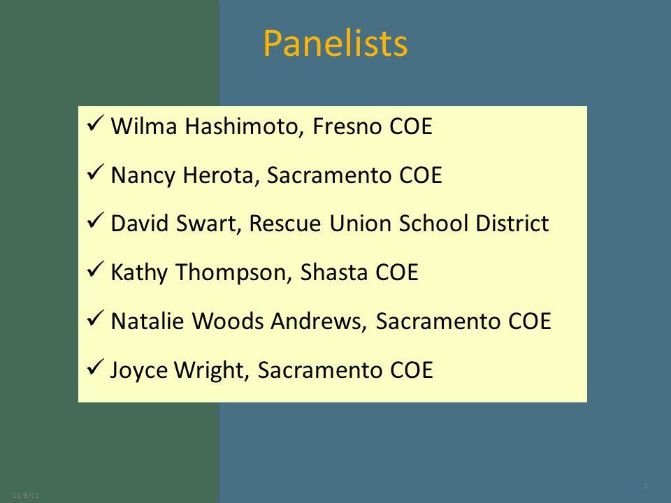 Panelists Wilma Hashimoto, Fresno COE Nancy Herota, Sacramento COE David Swart, Rescue Union School District Kathy Thompson, Shasta COE Natalie Woods