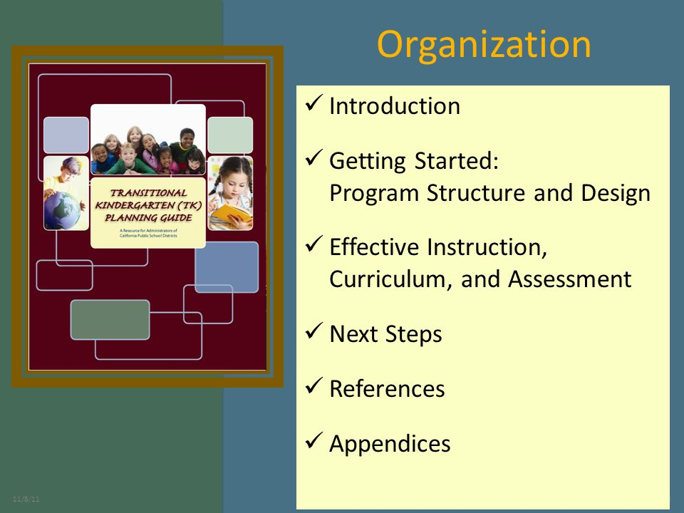 3 Organization Introduction Getting Started: Program Structure and Design Effective Instruction, Curriculum, and Assessment Next Steps References Appendices
