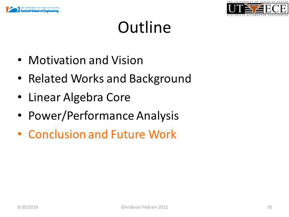 Outline Motivation and Vision Related Works and Background Linear Algebra Core Power/Performance Analysis Conclusion and Future Work 9/30/201436©Ardavan Pedram 2012